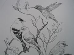 Work in progress of group of birds in ink and watercolor