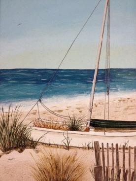 My first acrylic painting of catamaran on beach