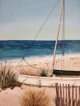 My first acrylic painting of catamaran on beach