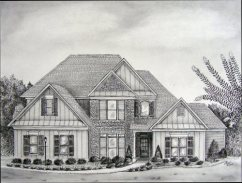House portrait in pen and ink