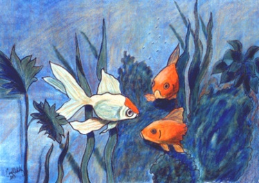 """Goldfish"" in colored pencil"